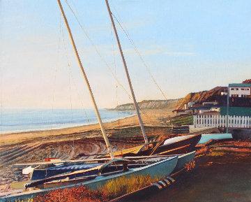 Catamarans At Sunset 2012 24x30 Original Painting by Tom Swimm