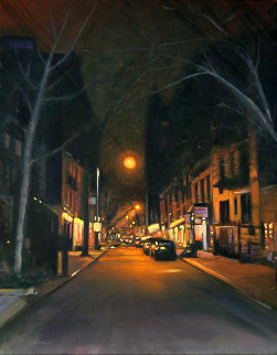 East Side Night 2015 28x22 New York Original Painting - Tom Swimm