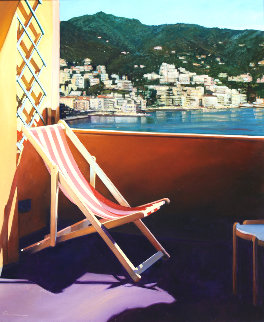 Rapallo Harbor View 2014 30x30 Original Painting - Tom Swimm
