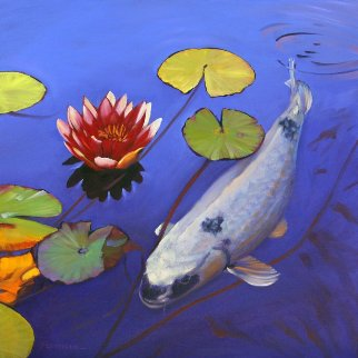 Lone Koi 2016 24x24 Original Painting - Tom Swimm