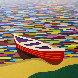 Red Canoe #36 48x48 Original Painting by Kurt Swinghammer - 0