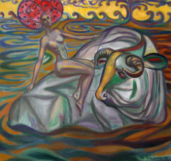 Rape of Europa 1990 Original Painting - Edward Tabachnik