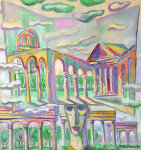 Hats 1981 34x33 Original Painting - Edward Tabachnik