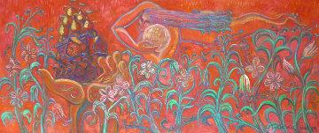 Flying in Red  1989 26x69 Original Painting - Edward Tabachnik