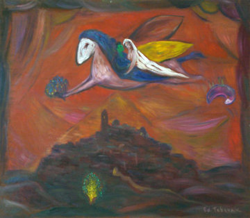 Soul of Chagall in St. Paul, Memory of Chagall 1995 28x32 HS Original Painting - Edward Tabachnik
