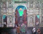 Miracle in Teatro Olimpico 2010 24x39 Original Painting - Edward Tabachnik