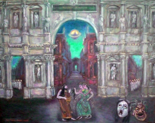 Miracle in Teatro Olimpico 2010 24x39 Original Painting by Edward Tabachnik