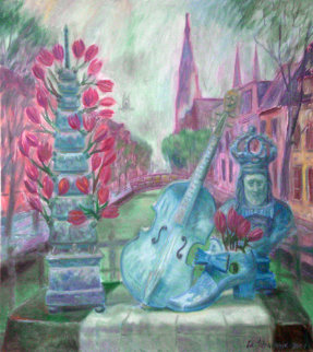 Delft Memories 2007 36x33 Original Painting - Edward Tabachnik