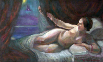 Danae 2010 22x36 Original Painting - Edward Tabachnik