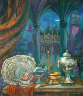 Russian Silver in St. Mark Square, Venice 2004 32x28 Original Painting - Edward Tabachnik