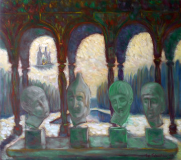 Greek Antiquity in Istanbul, Turkey 1996 Original Painting - Edward Tabachnik
