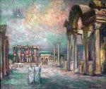 Night Lights in Ephesus 1996 Original Painting - Edward Tabachnik