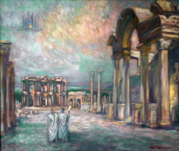 Night Lights in Ephesus 1996 32x38 Original Painting - Edward Tabachnik