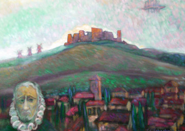 Ghastly Castle, Don Quixote Country with Self-portrait 1997 28x32 Original Painting - Edward Tabachnik