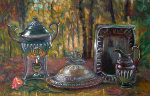 Supper in the Forest 1999 22x34 Original Painting - Edward Tabachnik