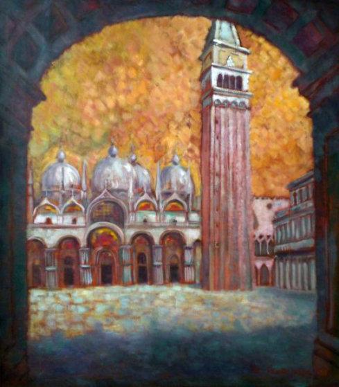 St. Mark's Basilica and Campanella in Venezia 1994 34x30 Original Painting by Edward Tabachnik
