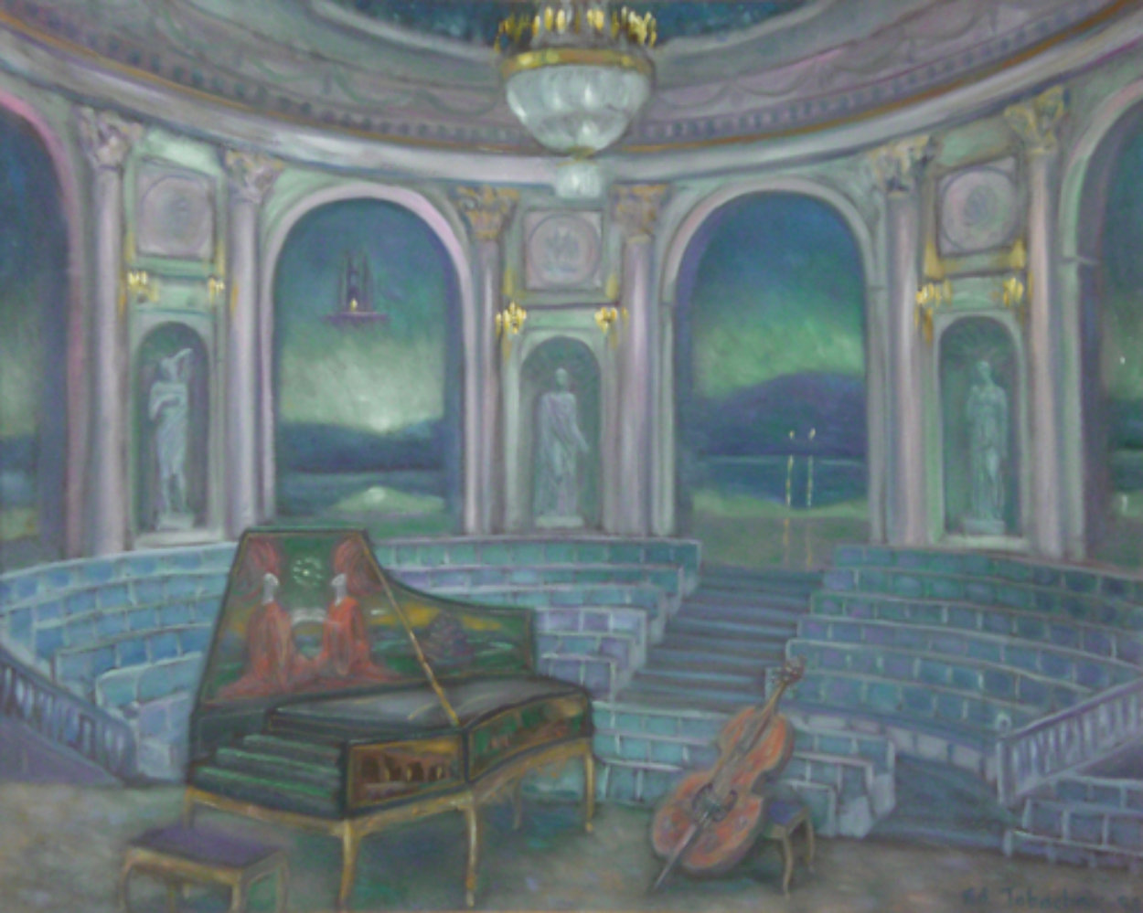 Concert in Hermitage Theater 31x40 Original Painting by Edward Tabachnik