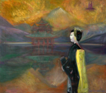 Memory of Japan, Geisha 2008 Original Painting - Edward Tabachnik