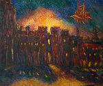 Windsor Palace in Flames 1994 28x12 Original Painting - Edward Tabachnik