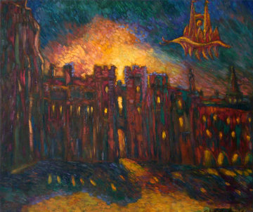Windsor Palace in Flames 1994 28x12 Original Painting - Edward Tabachnik