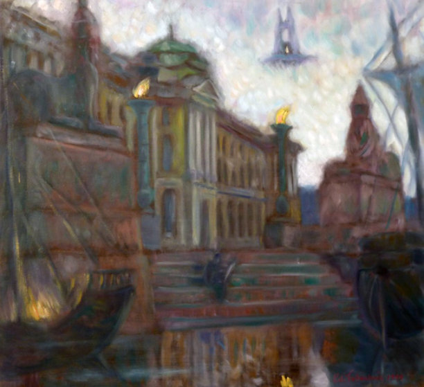 White Nights in St. Peterburg,  Sphinxes At Academy of Arts 1999 32x30 Original Painting by Edward Tabachnik