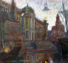 White Nights in St. Peterburg,  Sphinxes At Academy of Arts 1999 32x30 Original Painting by Edward Tabachnik - 0