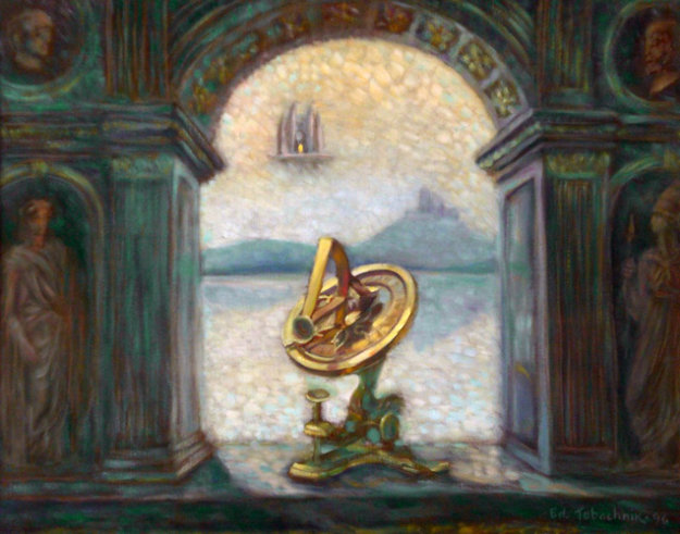 Sundial 1996 24x30 Original Painting by Edward Tabachnik