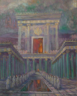 Herod's Temple in Jerusalem 2001 40x32 Huge Original Painting - Edward Tabachnik