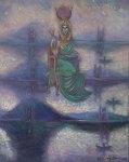 Hathor, The Goddess that Gave Birth to the Universe 2006 Original Painting - Edward Tabachnik