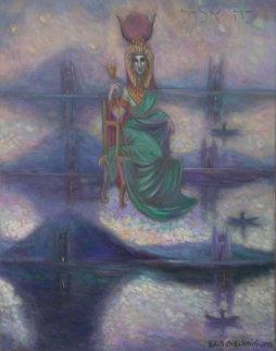 Hathor, The Goddess that Gave Birth to the Universe 2006 38x30 Original Painting - Edward Tabachnik