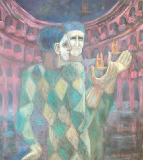 Mimes At Water Theater 2015 36x32 Original Painting by Edward Tabachnik