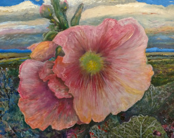 Pink Hollyhock 2017 47x39 Original Painting - Jeff Tabor