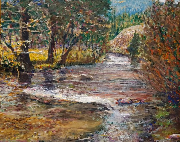 Pecos River With Branches 2015 25x29   Original Painting by Jeff Tabor