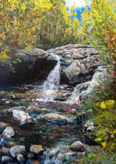 Jack's Creek Falls 2014 41x31 Original Painting - Jeff Tabor