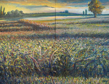 Green Hill Diptych 2003 37x49 Huge Original Painting - Jeff Tabor