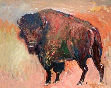American Bison 2015 31x37 Original Painting - Jeff Tabor