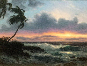Last Light Across the Horizon 1990 42x52 Huge Original Painting - Roy Tabora