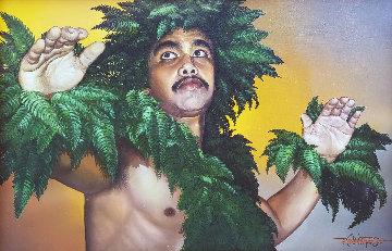 Hula Kahiko 1985 30x43 Original Painting - Roy Tabora