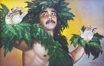 Hula Kahiko 1985 30x43 Super Huge Original Painting - Roy Tabora