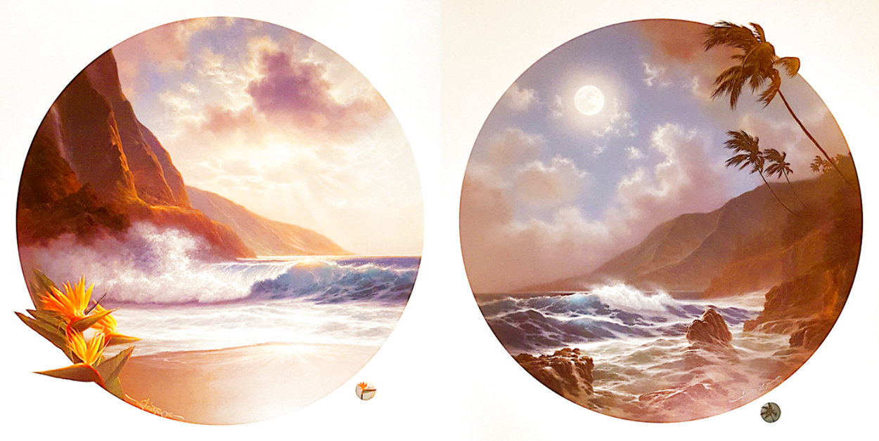 Daybreak And Moonrise, Suite of 2 Prints, Embellished Remarque Limited Edition Print by Roy Tabora