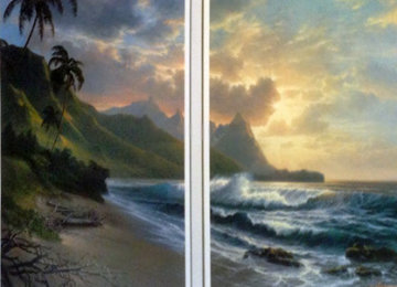 Bali Hai Forever Paradise Diptych Remarque 1990 Limited Edition Print - Roy Tabora