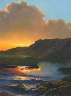 Kai Poi (Breaking Waves) 1985 Kauai 22x9, Hawaii  Original Painting by Roy Tabora