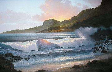 Summer Evening 1985 32x44 Huge Original Painting - Roy Tabora