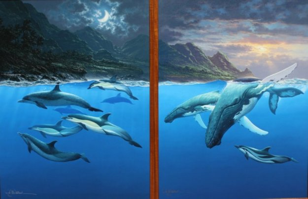 Return to Paradise Diptych (Sunset Sojourn, and Moonlit Rendezvous) AP 2002 45x64 Limited Edition Print by Roy Tabora