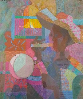 Untitled 1977 26x23 Original Painting - Romeo V Tabuena