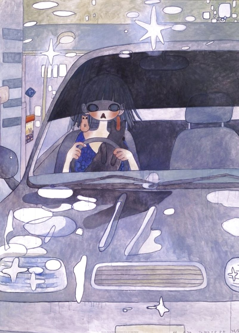 Drive With a Night Dog Limited Edition Print by Aya Takano