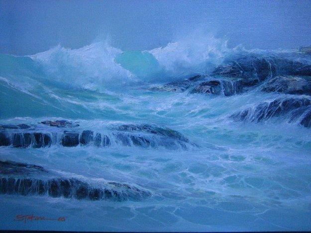 High Tide 1985 15x18 Original Painting by Seikichi Takara