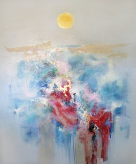 Fuyu No Tsuki (Winter Moon) 1987 61x51 Super Huge Original Painting - Seikichi Takara