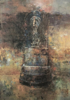 Fountain 2003 22x17 Original Painting - Chiu Tak Hak