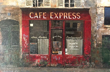 Café Express 1997 12x17 Original Painting by Chiu Tak Hak